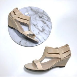 599a8d0bd Studio Works Nude Strappy Patent Wedge Sandals 7.5